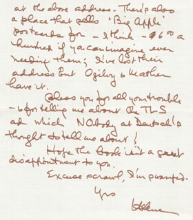 HELENE HANFF - AUTOGRAPH LETTER SIGNED 10/31/1977