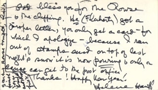 HELENE HANFF - AUTOGRAPH LETTER SIGNED 01/10/1977