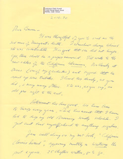 LAWRENCE CLARK POWELL - AUTOGRAPH LETTER SIGNED 02/19/1970