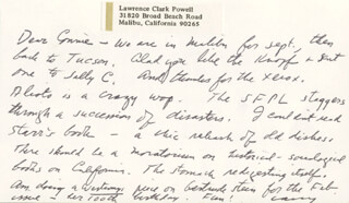 LAWRENCE CLARK POWELL - AUTOGRAPH NOTE SIGNED 09/13/1973
