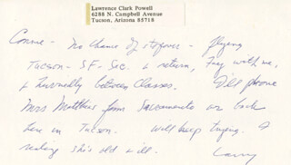 LAWRENCE CLARK POWELL - AUTOGRAPH NOTE SIGNED 02/27/1973