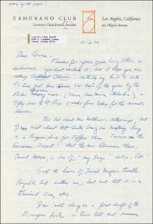 LAWRENCE CLARK POWELL - AUTOGRAPH LETTER SIGNED 11/02/1974