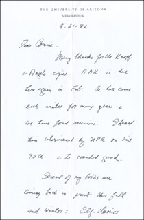 LAWRENCE CLARK POWELL - AUTOGRAPH LETTER SIGNED 09/21/1982