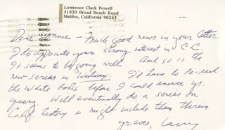 LAWRENCE CLARK POWELL - AUTOGRAPH LETTER SIGNED 09/23/1971