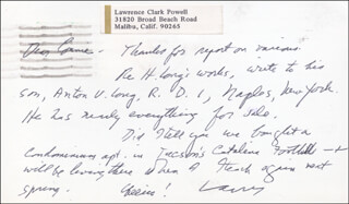 LAWRENCE CLARK POWELL - AUTOGRAPH NOTE SIGNED 07/01/1974