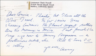 LAWRENCE CLARK POWELL - AUTOGRAPH NOTE SIGNED 09/13/1971