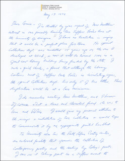 LAWRENCE CLARK POWELL - AUTOGRAPH LETTER SIGNED 05/13/1972