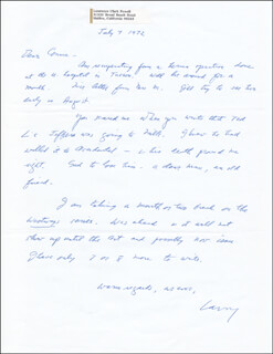 LAWRENCE CLARK POWELL - AUTOGRAPH LETTER SIGNED 07/07/1972