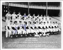 THE NEW YORK YANKEES - AUTOGRAPHED SIGNED PHOTOGRAPH CIRCA 1958 CO-SIGNED BY: YOGI BERRA, FRANK CROSETTI, TONY KUBEK, MICKEY MANTLE, ENOS SLAUGHTER, BOBBY SHANTZ, DON LARSEN, HANK BAUER