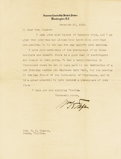 PRESIDENT WILLIAM H. TAFT - TYPED LETTER SIGNED 12/22/1925