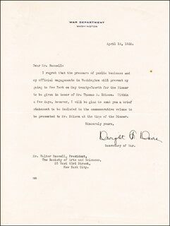 Autographs: DWIGHT F. DAVIS - TYPED LETTER SIGNED 04/16/1928