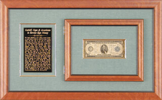 BORIS KARLOFF - CURRENCY SIGNED CO-SIGNED BY: BOB HOPE, KEENAN WYNN, J. SAUNDERS, JACK CARSON, W. R. SPENCER BINGHAM, JOHN T. McCORMICK, ALICE W. McCORMICK, C. GILBERT SPERRY, PRESIDENT SERGIO OSMENA SR. (PHILLIPPINES), CHARLES R. FRAZIER, BILL THOMPSON, ALIZE V. ATKINS, FRANK CLEARY, A. R. MacDONALD, J. S. P. ARMSTRONG, C. W. METTLES, BRIGADIER GENERAL JAMES H. JIMMY DOOLITTLE, CARLOS P. ROMULO