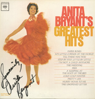 ANITA BRYANT - RECORD ALBUM COVER SIGNED  - HFSID 74056