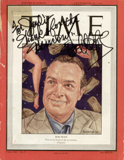 BOB HOPE - INSCRIBED MAGAZINE COVER SIGNED
