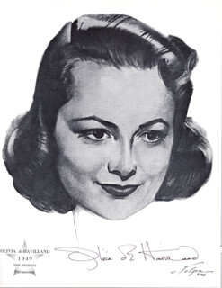 OLIVIA DE HAVILLAND - ILLUSTRATION SIGNED CIRCA 1962