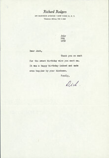 RICHARD RODGERS - TYPED LETTER SIGNED 07/09/1952