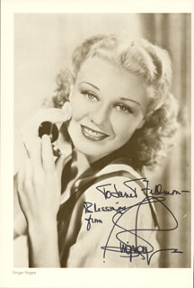 GINGER ROGERS - INSCRIBED PRINTED PHOTOGRAPH SIGNED IN INK