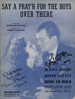 HERS TO HOLD MOVIE CAST - INSCRIBED SHEET MUSIC SIGNED CIRCA 1943 CO-SIGNED BY: JOSEPH COTTEN, DEANNA DURBIN