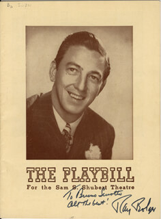 RAY BOLGER - INSCRIBED SHOW BILL SIGNED