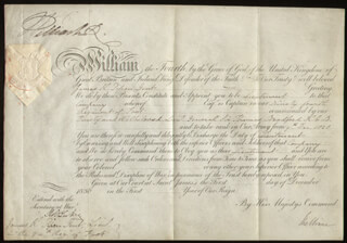 Autographs: KING WILLIAM IV - MILITARY APPOINTMENT SIGNED 12/01/1830 CO-SIGNED BY: PRIME MINISTER WILLIAM (VISCOUNT MELBOURNE II) LAMB (GREAT BRITAIN)