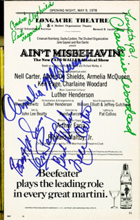Autographs: AIN'T MISBEHAVIN' BROADWAY CAST - SHOW BILL SIGNED CIRCA 1978 CO-SIGNED BY: CHARLAINE WOODARD, ARMELIA McQUEEN, KEN PAGE, ANDRE DE SHIELDS, NELL CARTER
