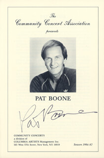 PAT BOONE - PROGRAM SIGNED CIRCA 1987