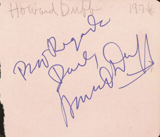 HOWARD DUFF - AUTOGRAPH NOTE SIGNED 1976 CO-SIGNED BY: EDWARD PENN