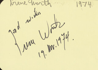 IRENE WORTH - AUTOGRAPH 11/19/1974 CO-SIGNED BY: KAIULANI LEE
