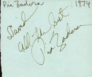 PIA ZADORA - AUTOGRAPH NOTE SIGNED CIRCA 1974 CO-SIGNED BY: JOHN HAYDEN
