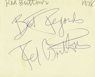 RED BUTTONS - AUTOGRAPH SENTIMENT SIGNED 1978 CO-SIGNED BY: DON LURIO