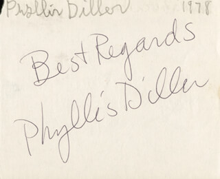 PHYLLIS DILLER - AUTOGRAPH 1978 CO-SIGNED BY: DEBI A. MONAHAN