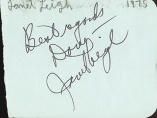 JANET LEIGH - AUTOGRAPH NOTE SIGNED CIRCA 1975