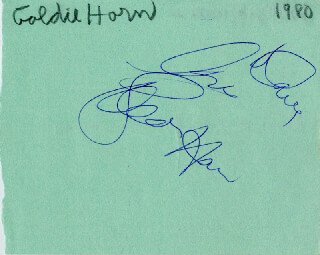 GOLDIE HAWN - AUTOGRAPH NOTE SIGNED CIRCA 1980 CO-SIGNED BY: DOLLY HAAS