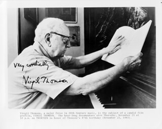 VIRGIL THOMSON - AUTOGRAPHED SIGNED PHOTOGRAPH