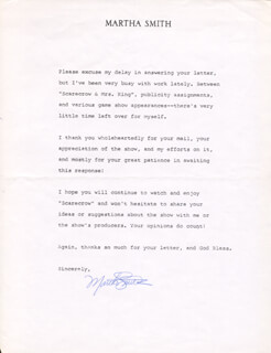 MARTHA SMITH - TYPED LETTER SIGNED
