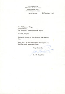 BRIGADIER GENERAL JAMES H. JIMMY DOOLITTLE - TYPED LETTER SIGNED 02/28/1967