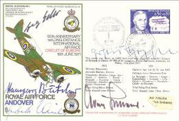 GENERAL ADOLF GALLAND - COMMEMORATIVE ENVELOPE SIGNED CO-SIGNED BY: GEORG-PETER EDER, HERBERT KAISER, GERHARD SCHOPFEL, HANNSGEORG BATCHER