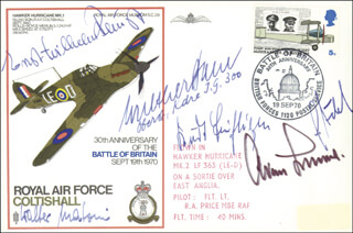 GENERAL ADOLF GALLAND - COMMEMORATIVE ENVELOPE SIGNED CO-SIGNED BY: KURT BUHLIGEN, COLONEL WALTHER DAHL, ERNST-WILHELM REINERT, GUSTAV RODEL, WALTER MATONI
