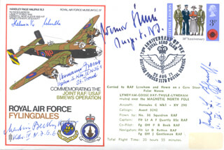 LT. COLONEL HERMANN GREINER - COMMEMORATIVE ENVELOPE SIGNED CO-SIGNED BY: WERNER STREIB, MARTIN BECKER, HELMUTH SCHULTE