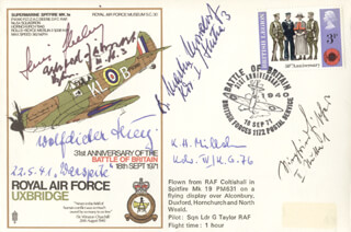 CAPTAIN WOLF-DIETRICH HUY - COMMEMORATIVE ENVELOPE SIGNED CO-SIGNED BY: MAJOR ERHARD JAHNERT, LT. HEINZ EBELING, MAJOR KARL-HERMANN MILLAHN, CAPTAIN MARTIN MOSSDORF, LT. SIEGFRIED FISCHER