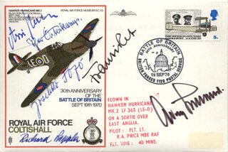 GENERAL ADOLF GALLAND - COMMEMORATIVE ENVELOPE SIGNED CO-SIGNED BY: MAJOR HANS ASSI HAHN, MAJOR GENERAL THEODOR THEO OSTERKAMP, RICHARD LEPPLA, JOSEF FOZO, LUDWIG FRANZISKET
