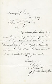 SAMUEL FRANCIS SMITH - AUTOGRAPH LETTER SIGNED 01/23/1893