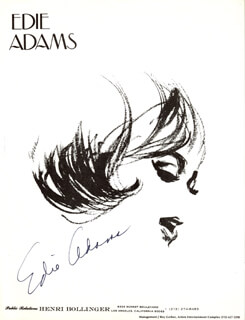 Autographs: EDIE ADAMS - ILLUSTRATION SIGNED