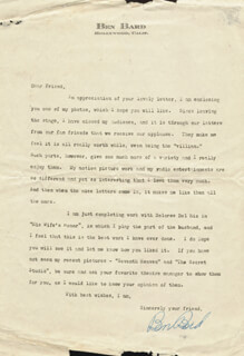 BEN BARD - TYPED LETTER SIGNED CIRCA 1927