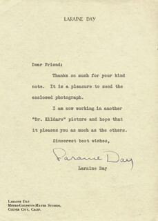 LARAINE DAY - TYPED LETTER SIGNED