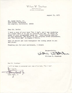 SAMMY DAVIS JR. - TYPED NOTE SIGNED CIRCA 1973