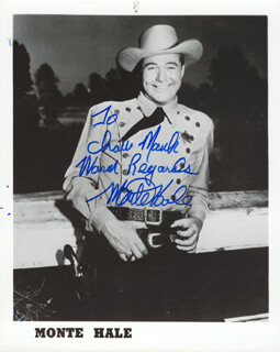 MONTE HALE - AUTOGRAPHED INSCRIBED PHOTOGRAPH