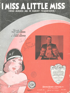 J. FRED COOTS - INSCRIBED SHEET MUSIC SIGNED