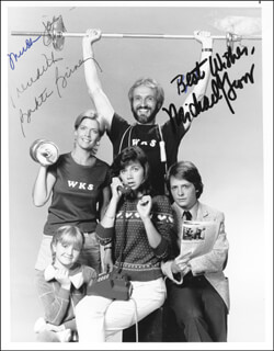 FAMILY TIES TV CAST - AUTOGRAPHED INSCRIBED PHOTOGRAPH CO-SIGNED BY: MICHAEL GROSS, MEREDITH BAXTER BIRNEY