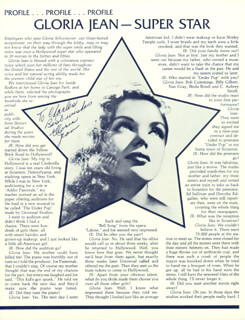 GLORIA JEAN - INSCRIBED MAGAZINE ARTICLE SIGNED